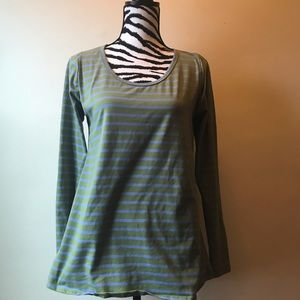 Lularoe green and purple striped shirt